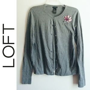 LOFT Gray Rginestone Flower Light Cardigan Sweater
